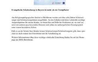 thumbnail of Evangelische Schulseelsorge in Bayern ist mehr als ein Trostpflaster