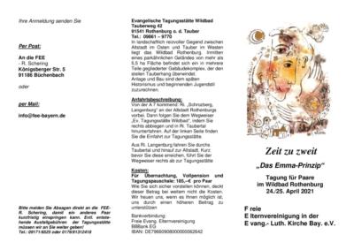 thumbnail of 2021, 24. – 25. April, Zeit zu Zweit